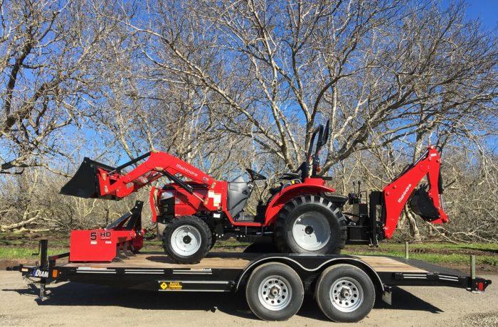 Mahindra 1626 HST Tractor, Loader, BACKHOE, Box Scraper, & Trailer!