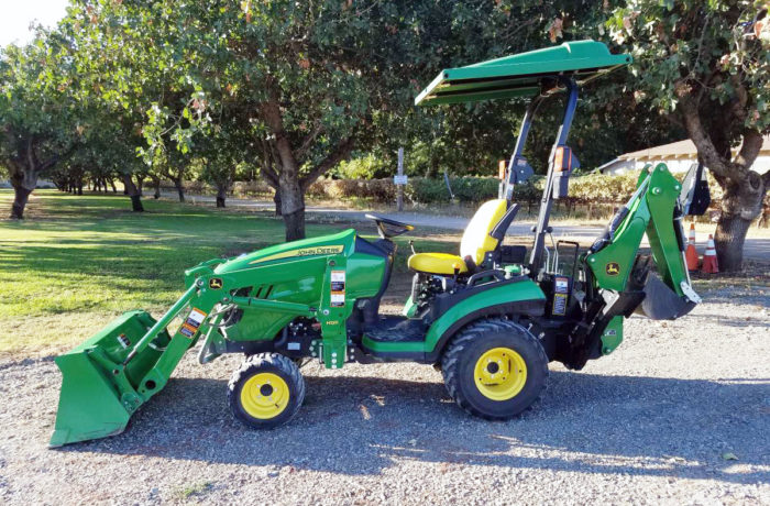 Used 2017 John Deere 1025R 4×4 HST Tractor with Loader AND Backhoe!