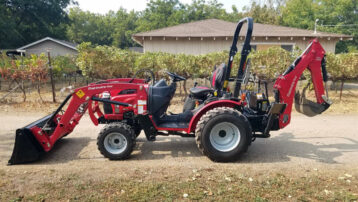 Used Mahindra Max 26XLT HST with Loader, Backhoe, and Front Auxiliary Hydraulics!